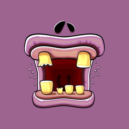 Vector cartoon funny silly zombie monster mouth with rotten teeth isolated on a violet background. Vector happy Halloween kids t-shirt design template with funky monster mouth Illustration