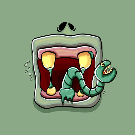 Vector cartoon funny silly zombie monster mouth with rotten teeth and green worm isolated on green background. Vector happy Halloween kids t-shirt design template with funky monster mouth 向量圖像