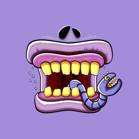 Vector cartoon funny silly zombie monster mouth with rotten teeth and green worm isolated on violet background. Vector happy Halloween kids t-shirt design template with funky monster mouth