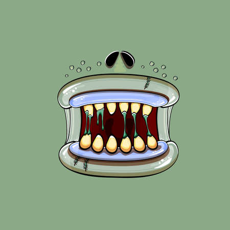 Vector cartoon funny silly zombie monster mouth with rotten teeth isolated on a green background. Vector happy Halloween kids t-shirt design template with funky monster mouth Illustration