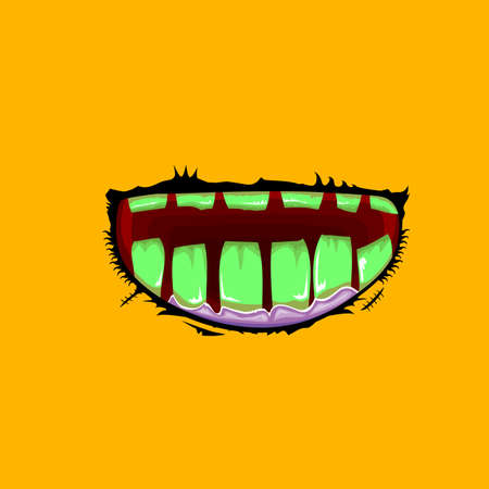 Vector cartoon funny zombie monster mouth with rotten teeth isolated on orange background. Vector happy Halloween kids t-shirt design template with funky monster mouth Illustration