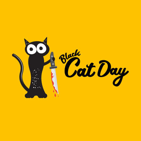 Black cat and knife isolated on white background. Funny Halloween black cat holding a bloody knife. Halloween concept illustration Ilustração