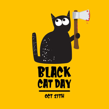 Black cat day funky banner with black cat holding bloody ax isolated on orange background. Black cat day funky concept illustration