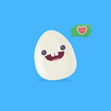vector funny cartoon egg character isolated on blue background. funky smiling cool white egg sticker