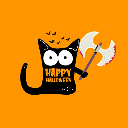 Happy Halloween greeting card or banner with Black cat holding ax isolated on orange background. Funny Halloween black cat holding a bloody ax. Halloween concept illustration Векторная Иллюстрация