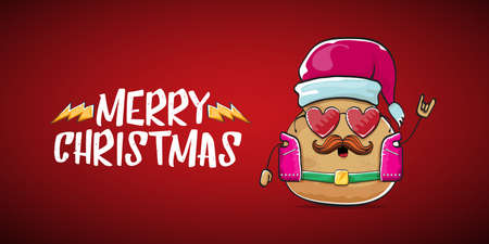 vector rock star santa potato funny cartoon cute character with with red santa hat and calligraphic merry christmas text isolated on red horizontal background. rock n roll christmas party banner 矢量图像