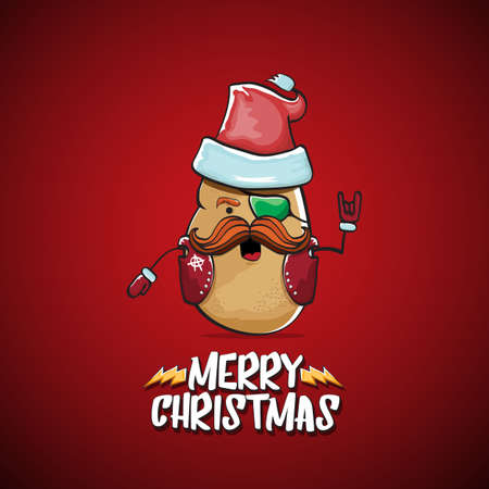 vector rock star Santa Claus potato funny cartoon cute character with red Santa hat and calligraphic merry Christmas text isolated on the red background. Rock n roll funky Christmas party banner