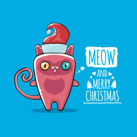 Vector Merry Christmas funky greeting card or banner with kawaii cute Santa Claus cat character with red sant hat isolated on blue background. Funny Christmas kids poster or print design template. Ilustração