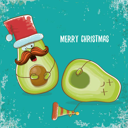 Merry chirstmas vector funky greeting card with with santa claus avocado character and his elf friend on azure background. Vector funny christmas party poster design template