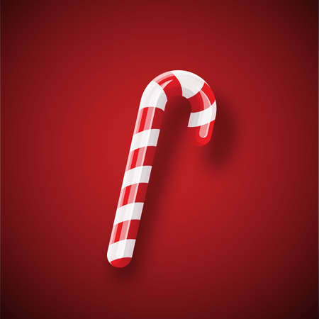 Christmas candy cane with shadow isolated on red background. Xmas Stripped cartoon lollipop. Vector candy cane