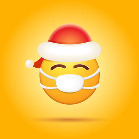 Vector Emoji sticker with mouth medical protection mask and santa claus red hat isolated on orange background. Yellow santa smile face character with Christmas hat and white surgeon mask.