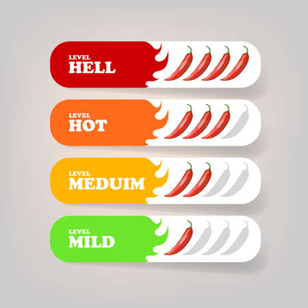 Spicy hot red chili pepper banners or stickers set with flame and rating of spicy. Vector spicy food level icon collection, mild, medium hot and hell level of pepper sauce or snack food Vettoriali