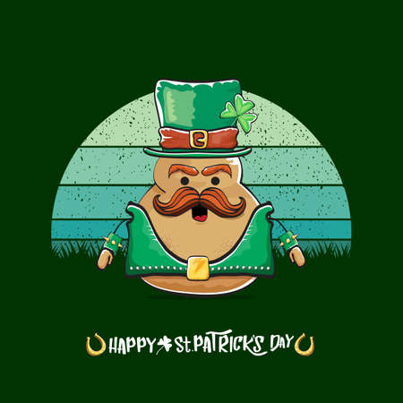 Happy saint patricks day greeting card with funky leprechaun potato character with green particks hat isolated on green background with vintage sun. Rock n roll saint Patrick vegetable character