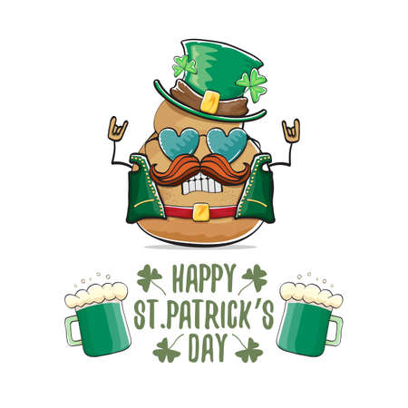 Happy Saint Patricks day greeting card with funky leprechaun rock star potato character with green particks hat and beer isolated on white background. Rock n roll hipster vegetable funky character