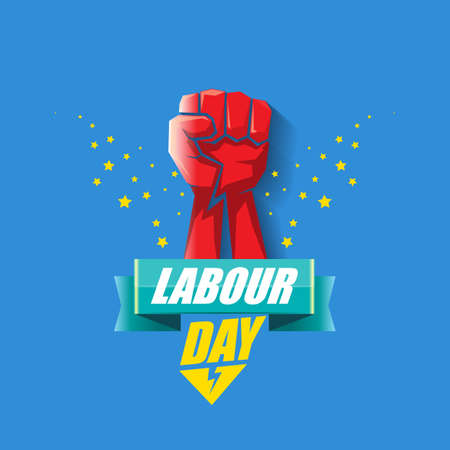 1 may Happy labour day vector label with strong protest fist in the air on blue background. vector happy labor day background or banner with man hand. workers may day poster Vecteurs