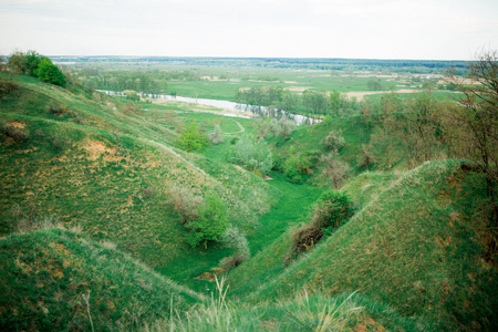 chaparral: A landscape of green hills in spring time.