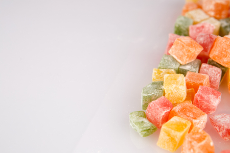 Different colours Turkish delight isolated on white background Imagens