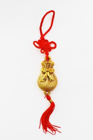 amulet: Golden Chinese Amulet Stock Photo