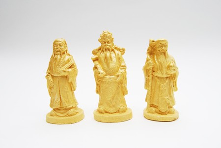 Group of Golden Fengshui Hok Lok Siew Statue Isolated photo