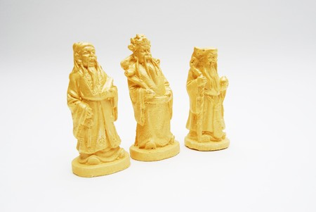 fengshui: Group of Golden Fengshui Hok Lok Siew Statue Isolated Stock Photo