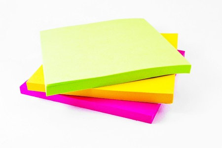 Colorful paper notes memo isolated on white background Stock Photo - 7977291