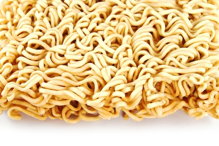 A block of Instant noodles isolated on white background photo