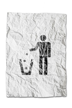 person dumping recycle symbol on wrinkled paper isolated on white background photo