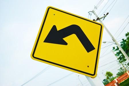 turn left traffic sign symbol photo