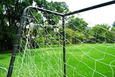 closeup of soccer goal and net photo