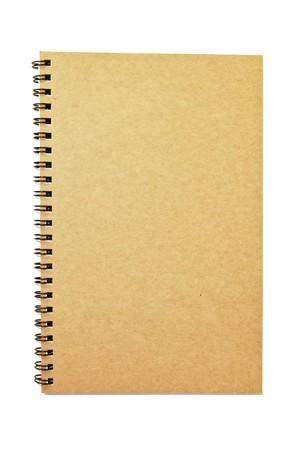 papel reciclado: Bloc de notas de tapa marr�n aislado
