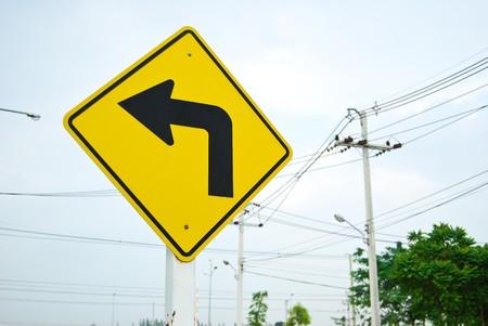 turn left traffic sign symbol Stock Photo - 8103701