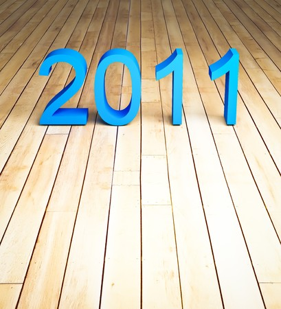 3d new year 2011 on wood background photo