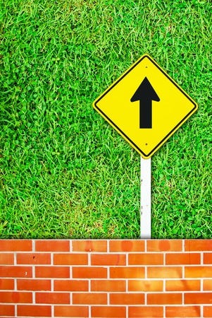 Go ahead traffic sign on brick wall and grass field background texture photo