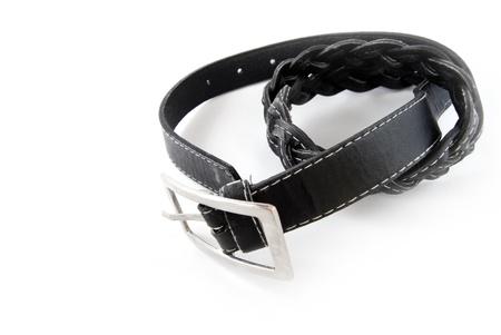 black leather belt isolated on white background Stock Photo - 8334654