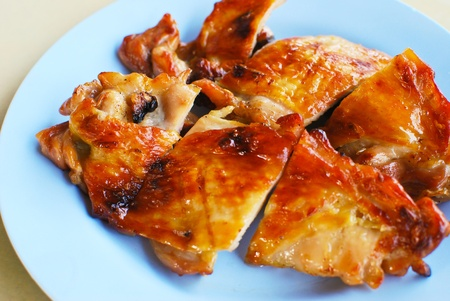 asian style grilled chicken closeup background photo