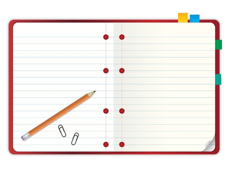 red cover blank grid line paper notebook open two pages with pencil and stationary vector illustration illustration