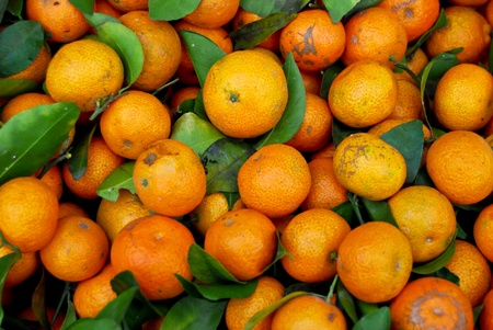fresh baby orange in market closeup background , Asia , Thailand photo