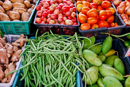 variety of fresh vegetables in market closeup background , Asia , Thailand Stock Photo - 8496568