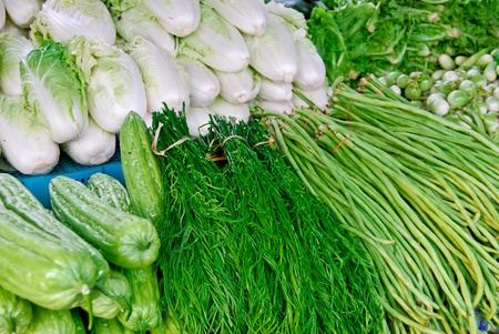 variety of fresh vegetables in market closeup background , Asia , Thailand Stock Photo - 8496571