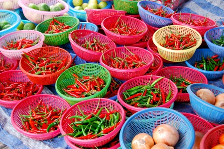 many of chili in basket in fresh market , Asia , Thailand Stock Photo - 8496580