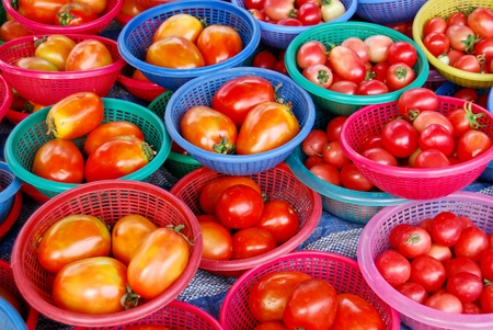 many of fresh tomato in basket in fresh market , Asia , Thailand photo