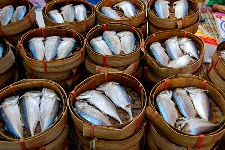 fresh mackerel in basket in market , Asia , Thailand photo