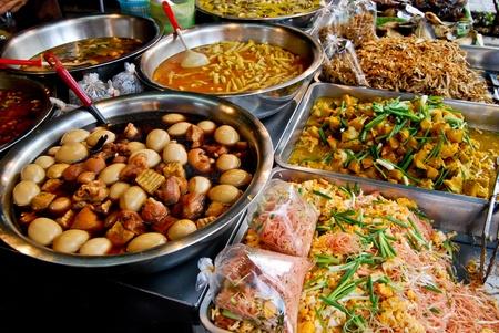 variety of thai food in fresh market, Asia, Thailand photo