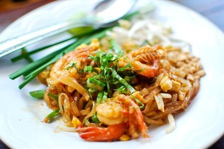 thailand fruit: Thai style noodle with fresh shrimp , Pad thai , Thailand Stock Photo