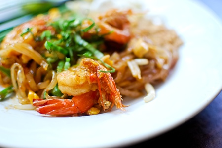 Thai style noodle with fresh shrimp , Pad thai , Thailand photo