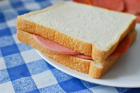 white bread bologna ham sandwich serve on a dish
