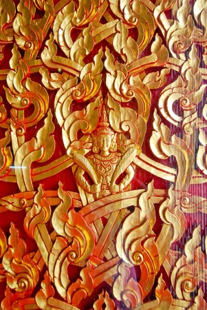 Ancient Thai pattern on wall in Thailand Buddha Temple , Asian Buddha style art photo