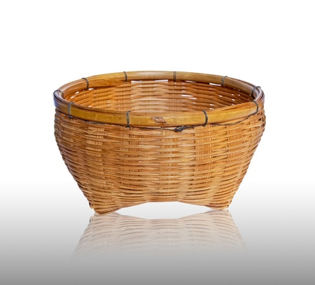 vintage brown weave wicker basket isolated on white background Stock Photo - 8801474