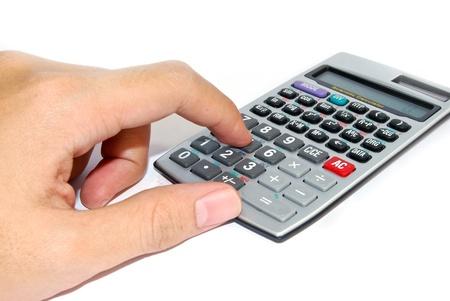 hand using advance calculator isolated on white background photo