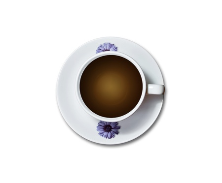 top view of coffee cup with flower decoration isolated on white background photo